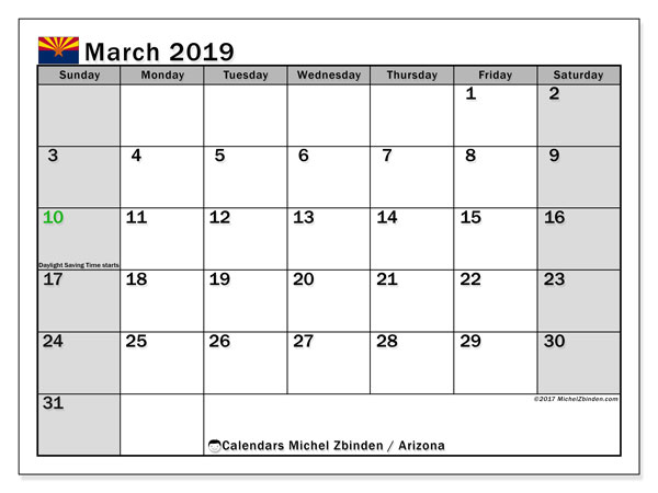 Calendar March 2019, with the holidays of Arizona. Free printable monthly calendar.
