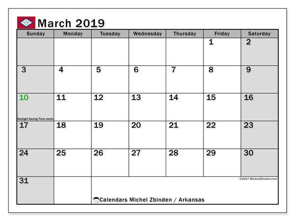 March 2019 Calendar, with the holidays of Arkansas. Holidays calendar to print free.