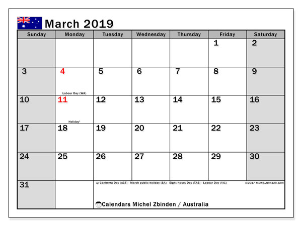 Calendar March 2019, with the holidays of Australia. Bullet journal to print free.