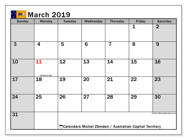 Calendar March 2019, with the holidays of Australian Capital Territory. Free printable calendar.