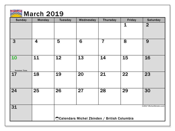 Calendar March 2019, with the holidays of British Columbia. Free printable monthly calendar.