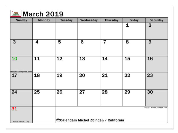 March 2019 Calendar, with the holidays of California. Free printable calendar with public holidays.