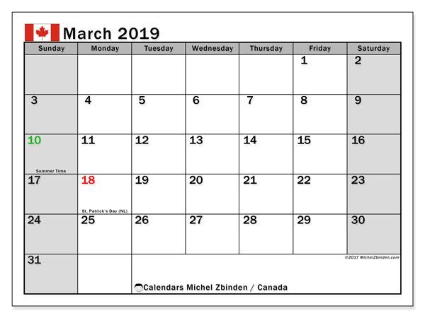 Calendar  March 2019, canada
