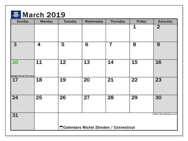 March 2019 Calendar, with the holidays of Connecticut. Free printable calendar with public holidays.