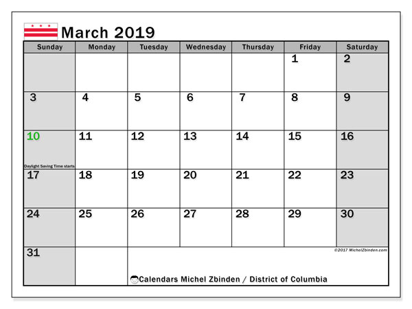 Calendar March 2019, with the holidays of the District of Columbia. Free calendar to print.