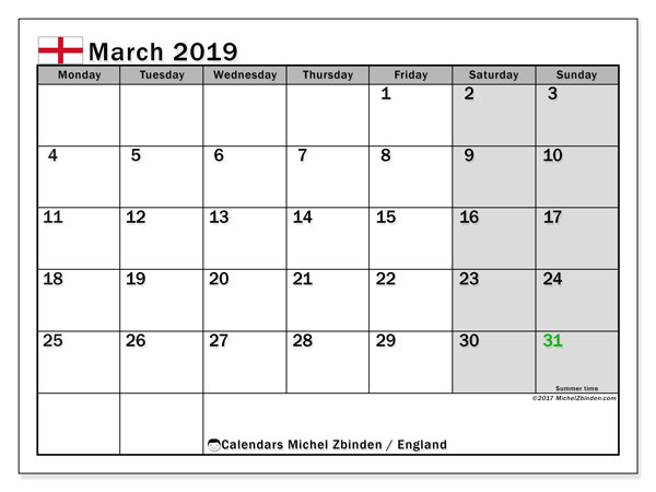 March 2019 Calendar, with the holidays of England. Holidays calendar to print free.