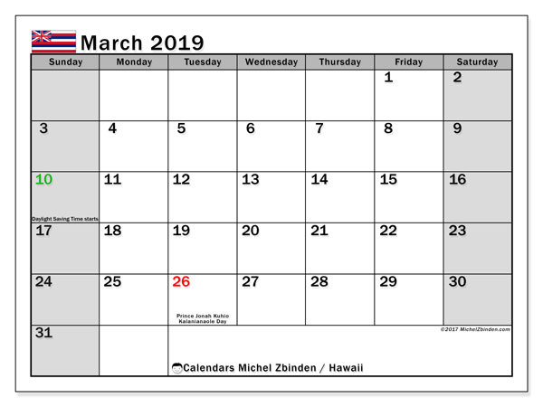 Calendar March 2019, with the holidays of Hawaii. Free calendar to print.