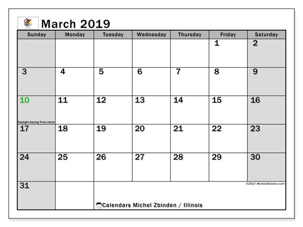 Calendar March 2019, with the holidays of Illinois. Free calendar to print.