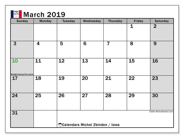 Calendar March 2019, with the holidays of Iowa. Bullet journal to print free.