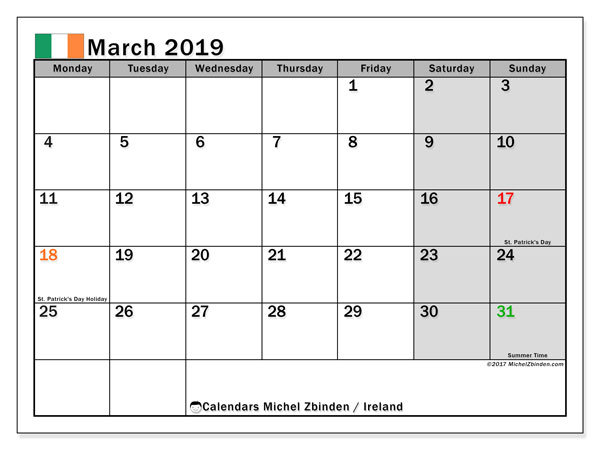 Calendar March 2019, with the holidays of Ireland. Free bullet journal to print.