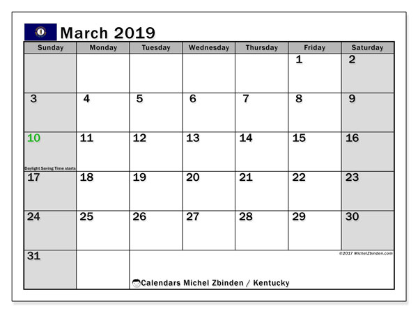 Calendar March 2019, with the holidays of Kentucky. Calendar to print free.