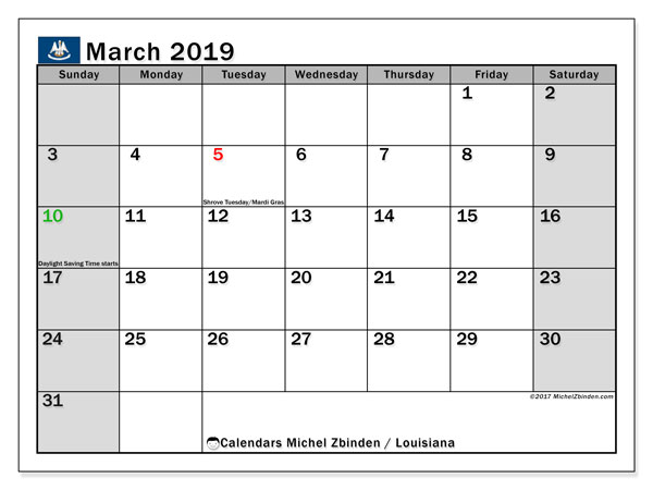 Calendar March 2019, with the holidays of Louisiana. Monthly planner to print free.