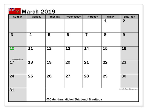 Calendar March 2019, with the holidays of Manitoba. Free printable monthly planner.