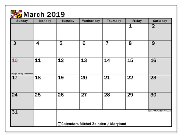 Calendar March 2019, with the holidays of Maryland. Free calendar to print.