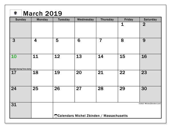 Calendar March 2019, with the holidays of Massachusetts. Free planner to print.