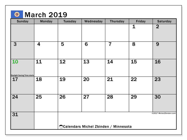 Calendar March 2019, with the holidays of Minnesota. Monthly calendar to print free.