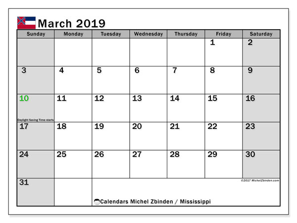 Calendar March 2019, with the holidays of Mississippi. Monthly planner to print free.