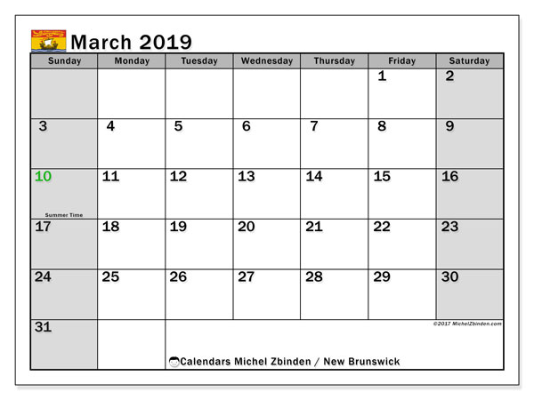 Calendar March 2019, with the holidays of New Brunswick. Free printable monthly calendar.