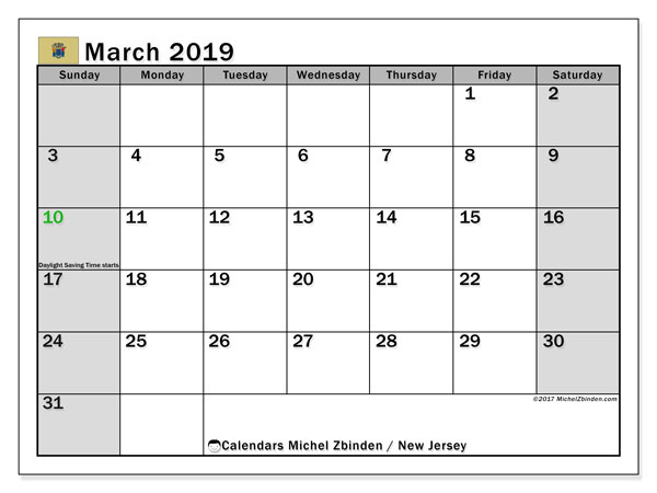 Calendar March 2019, with the holidays of New Jersey. Planner to print free.