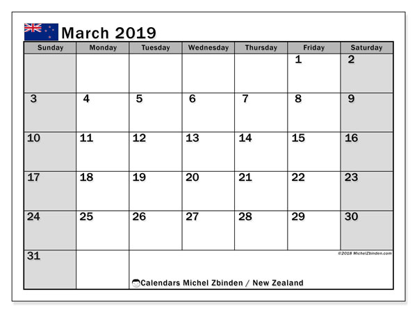 Calendar March 2019, with the holidays of New Zealand. Bullet journal to print free.