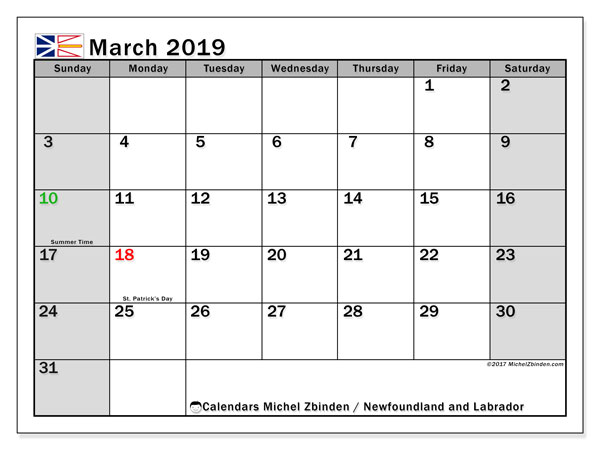 Calendar March 2019, with the holidays of Newfoundland and Labrador. Free printable bullet journal.