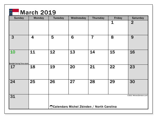 March 2019 Calendar, with the holidays of North Carolina. Free printable calendar with public holidays.