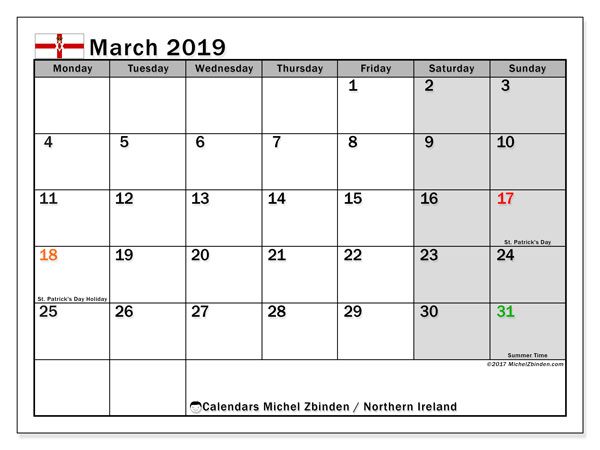 Calendar March 2019, with the holidays in Northern Ireland. Free printable bullet journal.