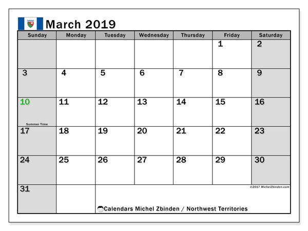 Calendar March 2019, with the holidays of Northwest Territories. Monthly planner to print free.