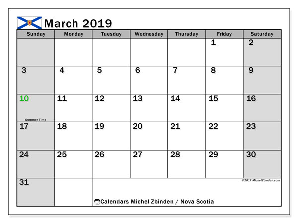 Calendar March 2019, with the holidays of Nova Scotia. Free printable bullet journal.