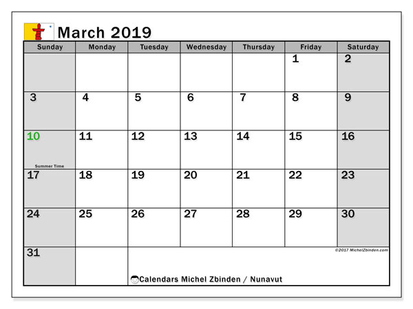 Calendar March 2019, with the holidays of Nunavut. Free bullet journal to print.