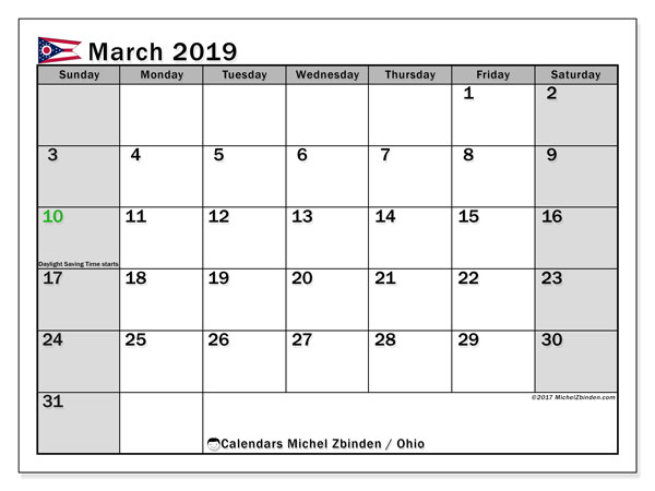 March 2019 Calendar, with the holidays of Ohio. Holidays calendar to print free.