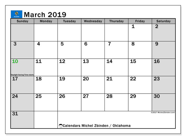 March 2019 Calendar, with the holidays of Oklahoma. Holidays calendar to print free.