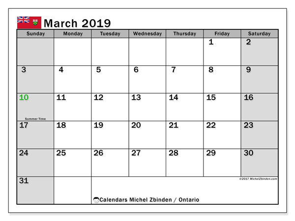 Calendar March 2019, with the holidays of Ontario. Monthly planner to print free.