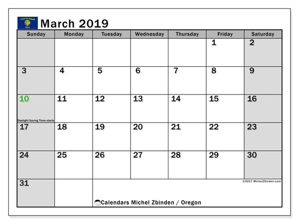 March 2019 Calendar, with the holidays of Oregon. Free printable calendar with public holidays.