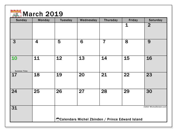 Calendar March 2019, with the holidays of Prince Edward Island. Monthly calendar to print free.