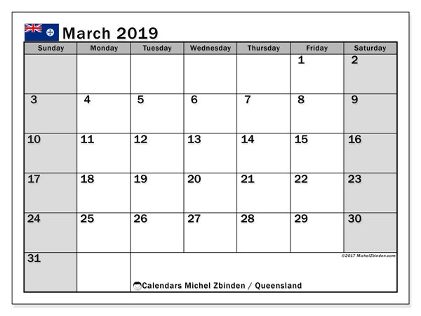 Calendar March 2019, with the holidays of Queensland. Bullet journal to print free.