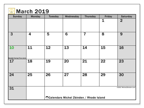March 2019 Calendar, with the holidays of Rhode Island. Free printable calendar with public holidays.