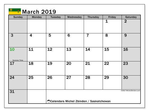 Calendar March 2019, with the holidays of Saskatchewan. Planner to print free.