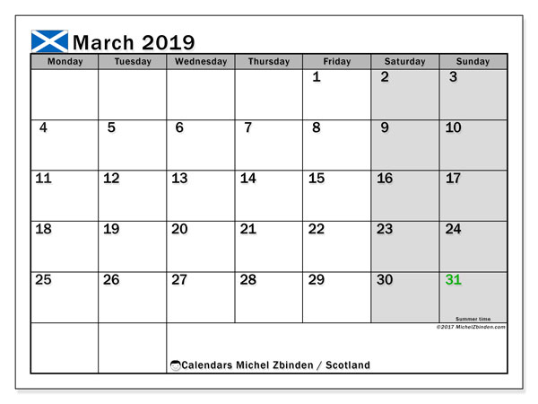 Calendar March 2019, with the holidays of Scotland. Planner to print free.