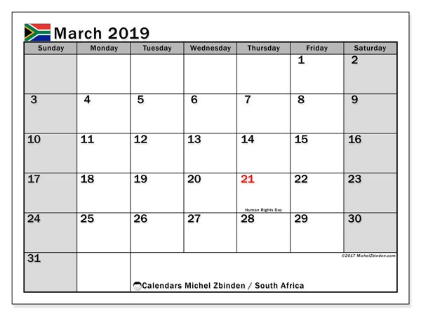 Calendar March 2019, with the holidays of South Africa. Free bullet journal to print.