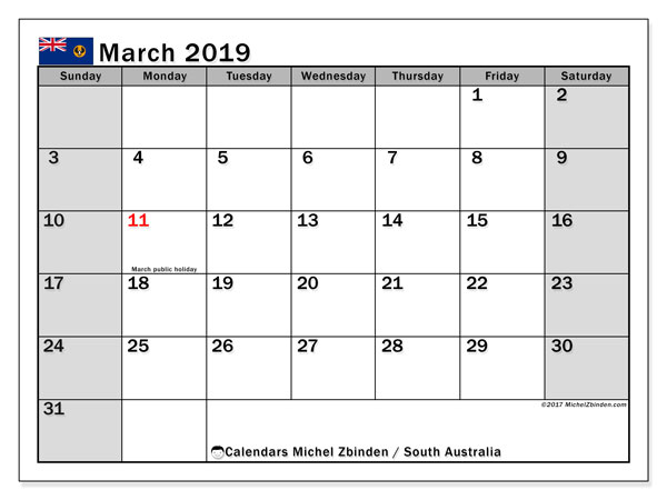 Calendar March 2019, with the holidays of South Australia. Free printable calendar.