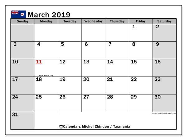 Calendar March 2019, with the holidays of Tasmania. Free printable monthly calendar.