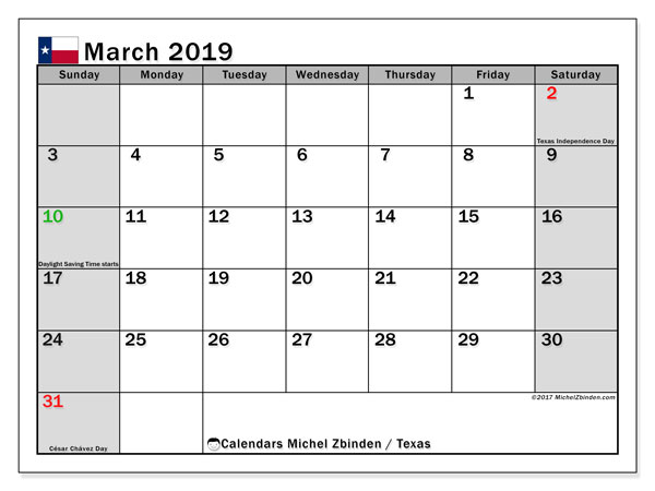 March 2019 Calendar, with the holidays of Texas. Free printable calendar with public holidays.