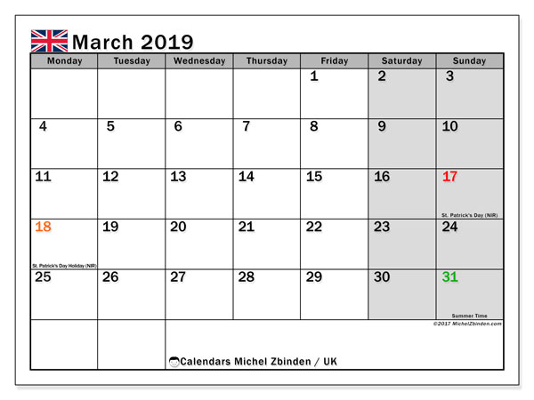 Calendar March 2019, with the holidays of the UK. Free printable calendar.