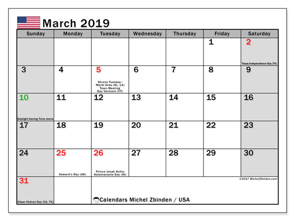 Calendar March 2019, with the holidays of the USA. Calendar for the month to print free.