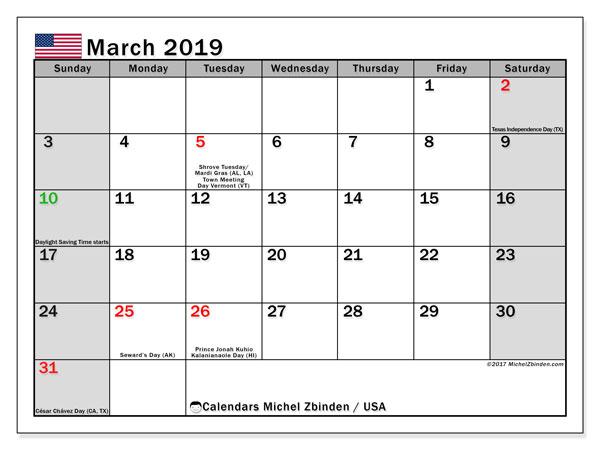 March 2019 Calendar  - USA. Printable calendar: official holidays.