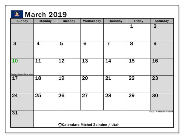 March 2019 Calendar, with the holidays of Utah. Free printable calendar with public holidays.