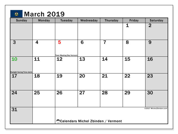 March 2019 Calendar, with the holidays of Vermont. Holidays calendar to print free.