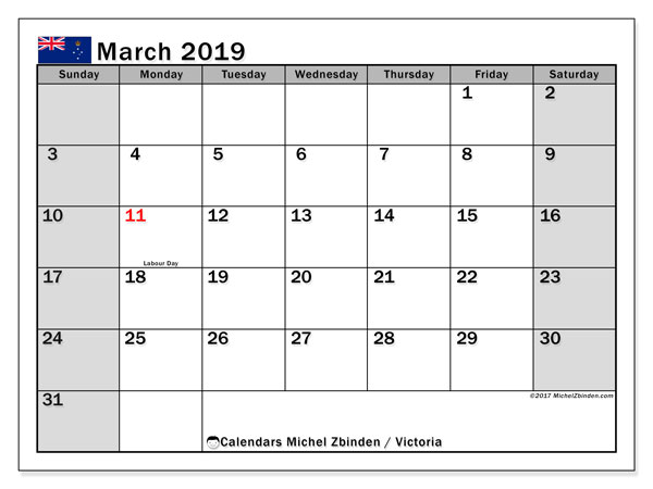 Calendar March 2019, with the holidays of Victoria. Planner to print free.