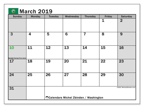 March 2019 Calendar, with the holidays of Washington. Free printable calendar with public holidays.